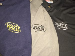 waste resources embroidered polo shirts